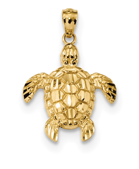 14K Gold Turtle Pendant Necklace