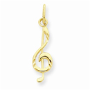 Treble Clef Music Note Pendant, 14K Gold