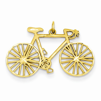 Bicycle Charm Pendant in 14K Gold