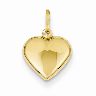 Puffed Heart Charm in 14K Yellow Gold