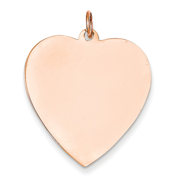 14K Rose Gold Engravable Heart Charm Pendant