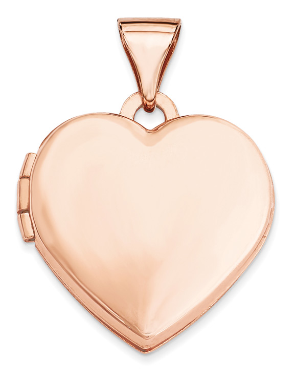 14K Rose Gold Plain Heart Locket