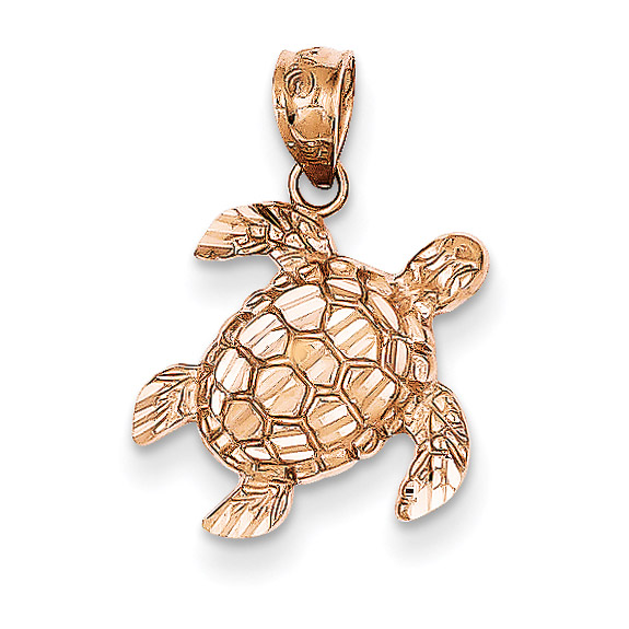 14K Rose Gold Turtle Pendant