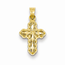Small Diamond-Cut Cross Charm Pendant, 14K Gold
