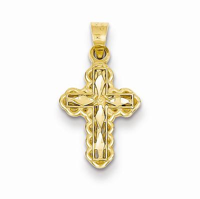 Small Diamond-Cut Cross Charm Pendant, 14K Gold
