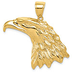14K Solid Gold American Bald Eagle Head Pendant