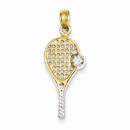 Tennis Racquet Pendant in 14K Gold