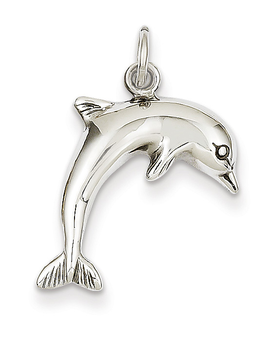14k White gold dolphin pendant