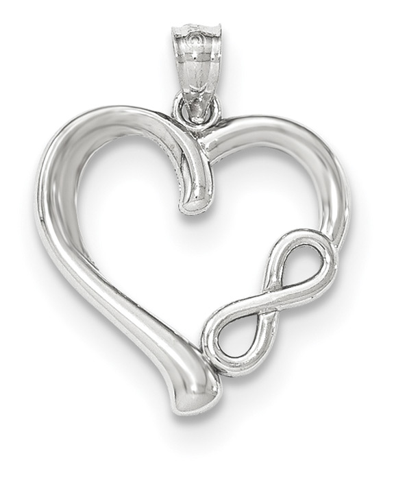 14K White Gold Heart Pendant with Infinity Symbol