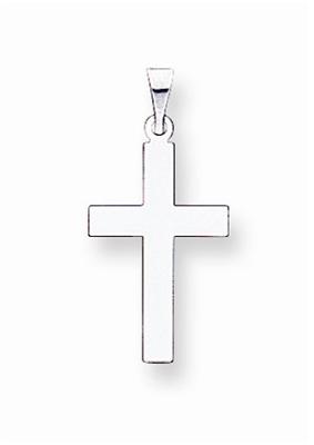 14k White Gold Plain Polished Cross Pendant