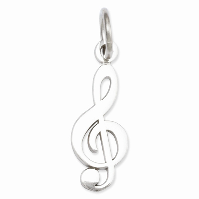 Treble Clef Music Charm Pendant, 14K White Gold