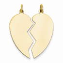 2-Piece Heart Charm Pendant in 14K Yellow Gold