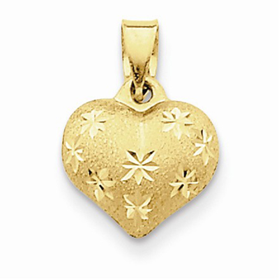 Satin Diamond Cut Puffed Heart Pendant in 14K Gold