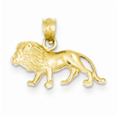 Diamond-Cut Lion Pendant in 14K Gold