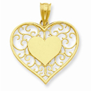 Heart in Heart Polished & Filigree Pendant, 14K Gold