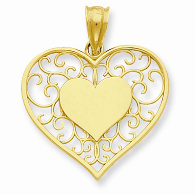 Heart in Heart Polished & Filigree Pendant, 14K Gold