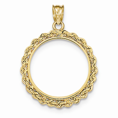 14K Gold Rope Bezel for 1/4 Ounce Panda Coin