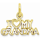 I Love My Grandma Charm Pendant in 14K Gold