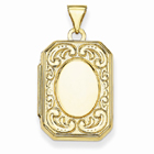 Rectangle Scroll Locket in 14K Gold