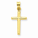 14K Gold Polished Hollow Cross Pendant