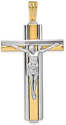 Italian Large 14K Two-Tone Gold Christus Patiens Crucifix Pendant