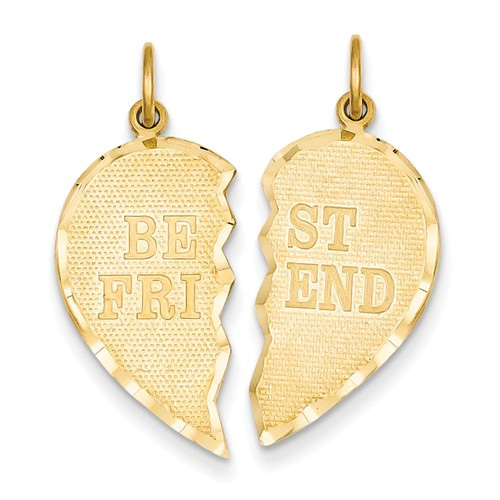 Best Friends Break-Apart Friendship Heart Pendant, 14K Gold