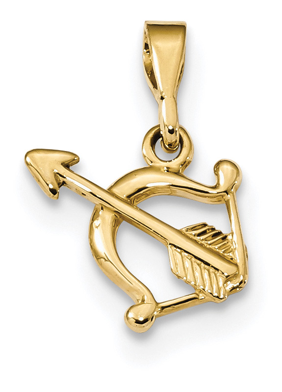 Bow and Arrow Pendant in 14K Gold