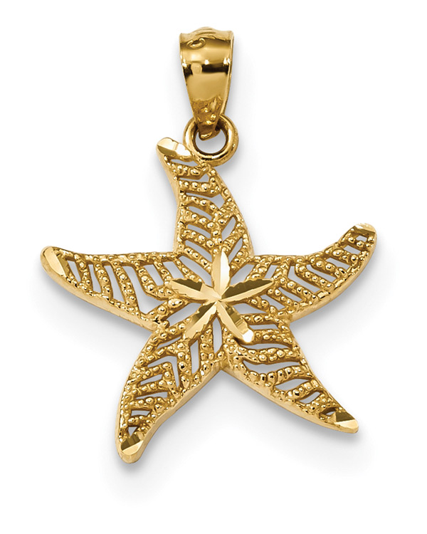 Diamond-Cut Filigree Starfish Pendant Necklace, 14K Gold