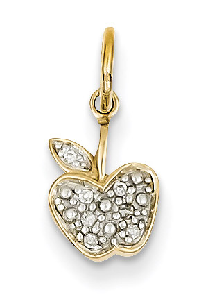 Small Diamond Apple Pendant, 14K Gold