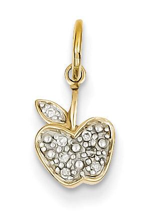 Small diamond apple pendant 14k gold aloadofball Images