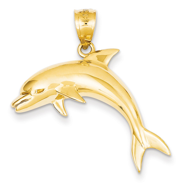 Large Dolphin Pendant in 14K Gold