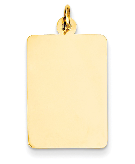 Engravable Rectangular Disc Charm Pendant, 14K Gold