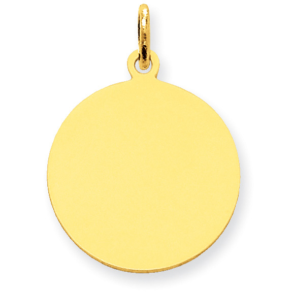 Engraveable 14K Gold Disc Charm Pendant