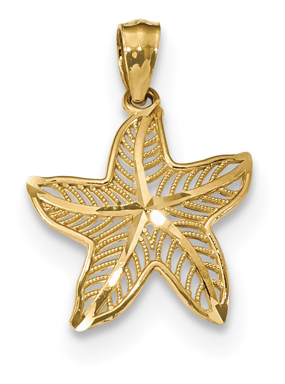 Filigree Starfish Pendant Necklace, 14K Gold