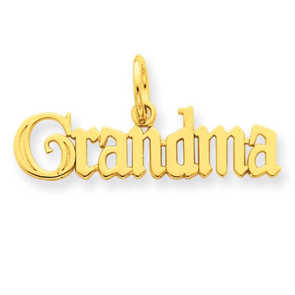 Grandma Charm Necklace, 14K Gold