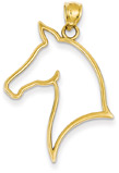 Horse Head Silhouette Pendant Necklace, 14K Gold