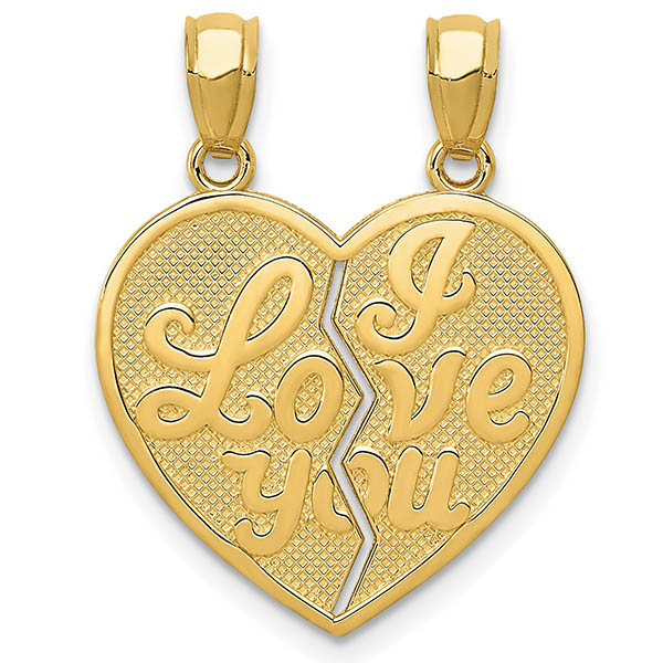 I Love You 2 Piece Break-Apart Heart Necklace, 14K Gold