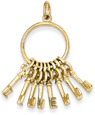 14K Yellow Gold I Love You Key Ring Pendant