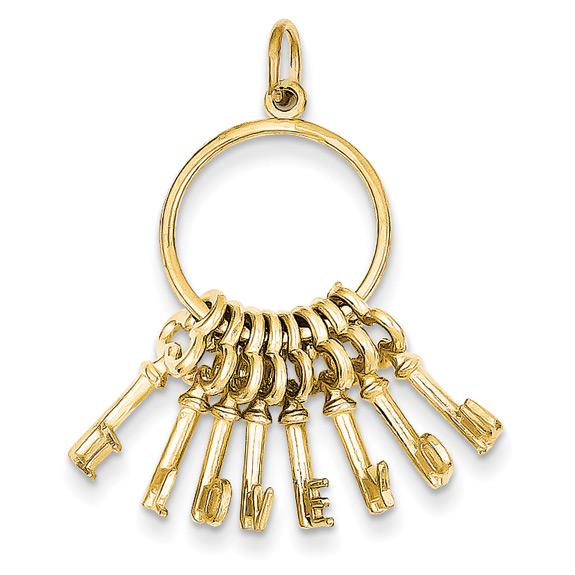 14K Yellow Gold I Love You Key Ring Pendant