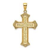 men's 14k gold paisley etched cross pendant