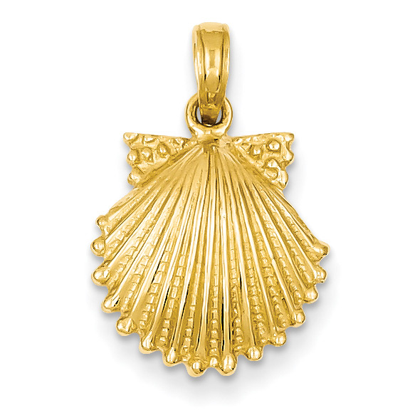 Sea Scallop Shell Pendant Necklace Jewelry in 14K Gold