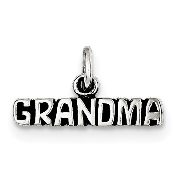 Sterling Silver Antiqued Grandma Charm Pendant