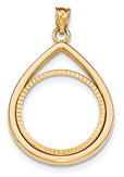 Tear-Drop 1/4 Ounce Coin Bezel Pendant, 14K Gold