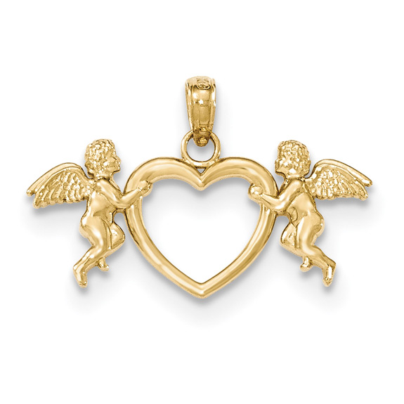 Two Angels Heart Pendant, 14K Gold