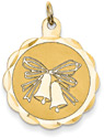 Wedding Bells Disc Charm Pendant, 14K Gold