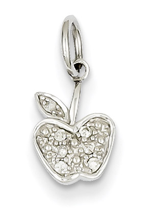 14K White Gold Diamond Apple Pendant