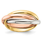 10k tri-color gold entwined rolling ring