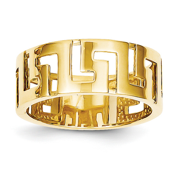 14K Gold Cut-Out Greek Key Band Ring for Women