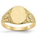 14K Gold Flower Engravable Signet Ring for Women