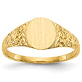14K Gold Women's Engravable Floral Scroll Initial Signet Ring